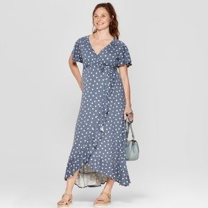 Blue Polka Dot Maternity Maxi Dress